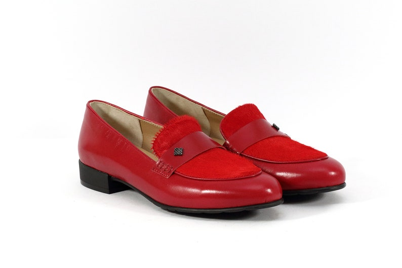 02f55a92b9a07 Red women moccasins handmade of natural leather, Red loafers, Natural pony  hair flats, Womens flat shoes, Red pony hair shoes, Red loafers