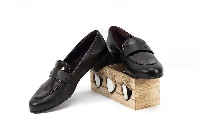 625d1ce3c8a75 Black women moccasins handmade of natural leather, Black loafers, Natural  varnish flats, Womens flat shoes, Varnish shoes