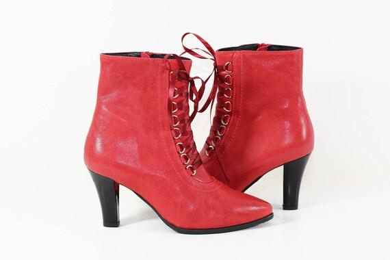 Rote Damen Lederstiefel, rote Stiefeletten, Damenschuhe, Lederstiefel, Winterstiefel