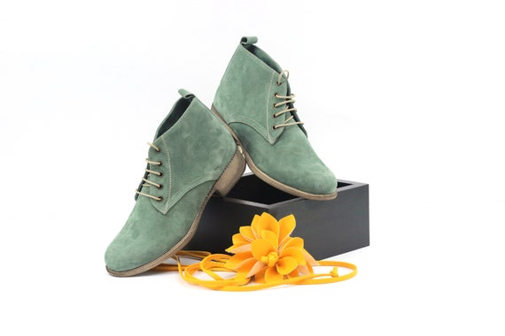 Green Women Leather Boots Women Natural Leather Booties Etsy