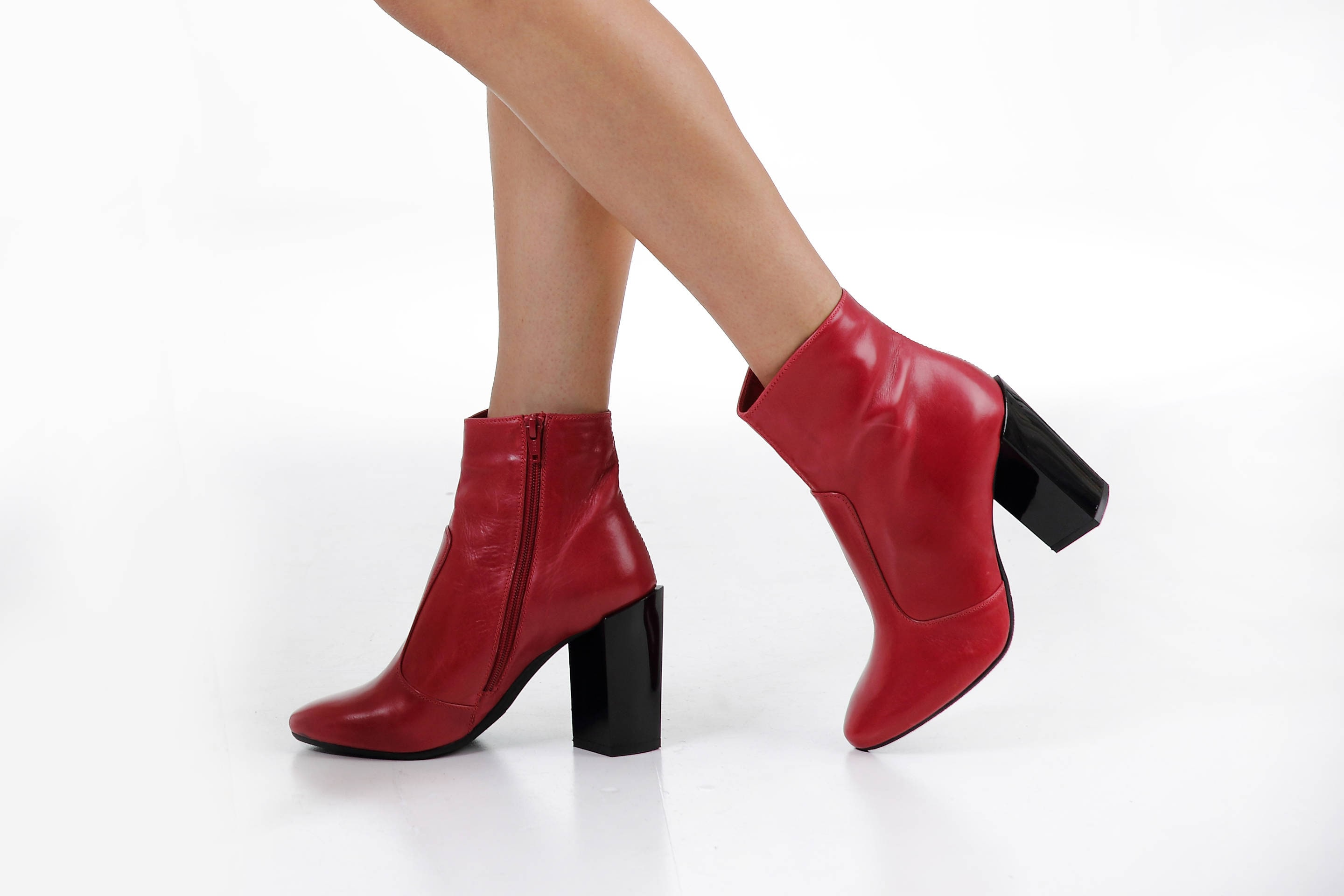 c1e2994b25dcd Elegant women's boots Red ankle boots Genuine leather   Etsy