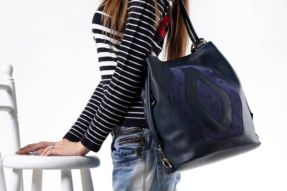 Blue leather shoulder bag Navy blue shoulder bag Blue  55413ca287