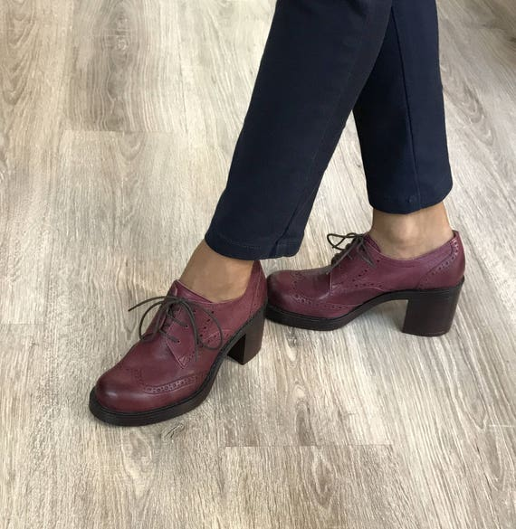 Women Oxford burgundy shoes Leather Oxford shoes Women's | Etsy