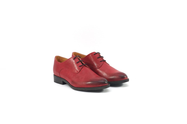 Red shoes Red leather Oxford shoes Red Oxford shoes Red sporty-elegant women/'s Oxford shoes