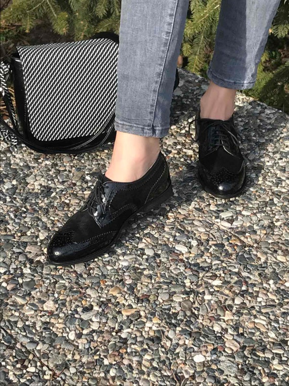 Black leather Oxford shoes Women Oxford