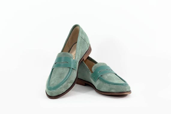 Green flat moccasins leather flat shoes