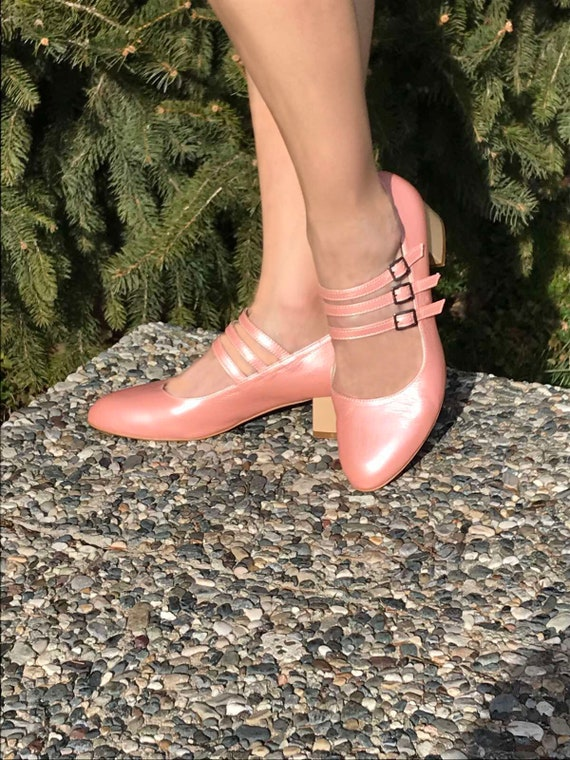 Pink Mary Jane shoes Mary Jane leather