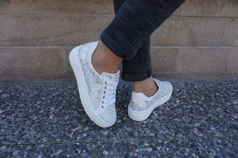 Sneakers donna White Low Top Leather Sneakers Wedding GUa73w38