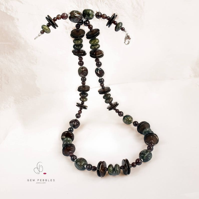 For Her Sterling Silver faceted Spacers /& Findings Bloodstone Jasper Necklace with Garnet Gemstone and Bodhi Mala Longish Rondelle Beads