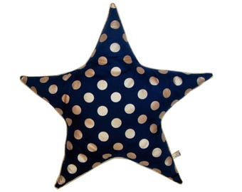 Star cushion is piped for kids room polka dots