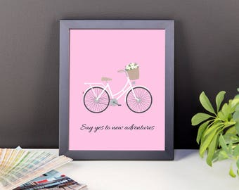 Say Yes to New Adventures Romantic Vintage Bicycle Framed poster. Vintage Bicycle Quote Framed Art.