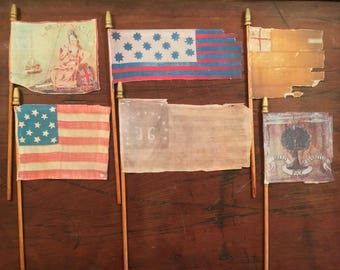 "Surviving Flag Series #10 of The American Revolution Era - THE WAR & BEYOND : Realistic Mini Desk Flag 4""x 6""  9.99 Each Flag"