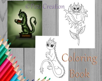 Printable cute Coloring Book Dragons Instant Download