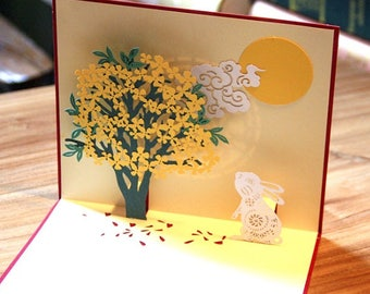 Handmade Origami Papercraft Art 3D Popup Pop Up Rabbit Moon Gold Tree Birthday Easter Valentines Wedding Anniversary Mothers Day Cards Her