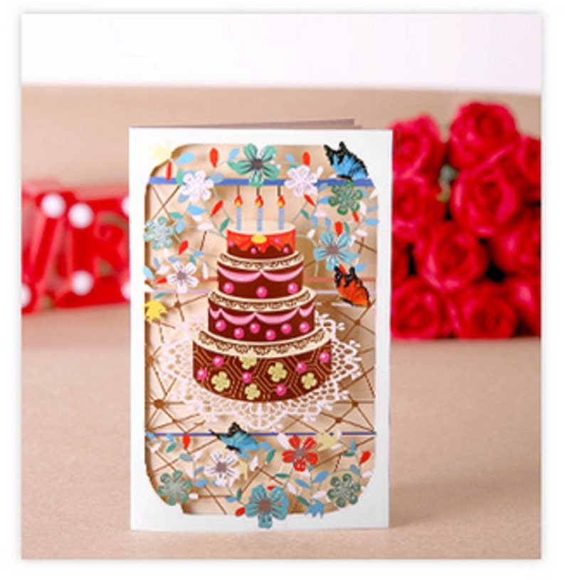 3D Paper craft Origami Cake Candle Birthday Greeting Cards Anniversary Gift