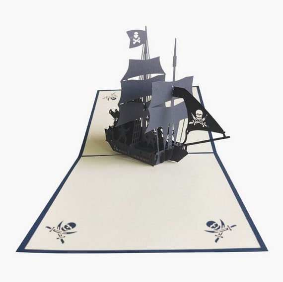 3D Pop Up Greeting Card Handmade Sailboat Postcard Birthday Valentine r