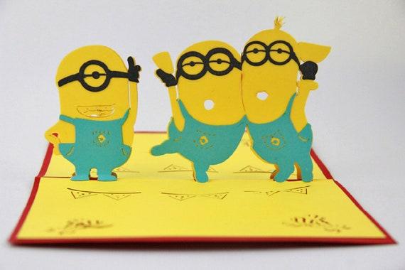 Handmade 3D Pop Up Birthday Card Minions