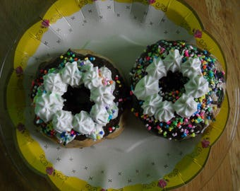 Fake Food Prop, Donuts with Rainbow Sprinkles, Decorated Donuts, Kitchen Decor, Chocolate Covered Donuts, Bakery Display Food, Gift for Chef
