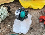 Sterling Vintage Navajo Flower Leaf Ring with Green Turquoise