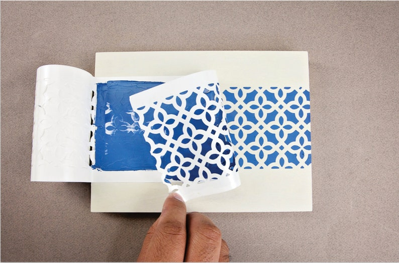 TEA ROSE GARDEN Tile Stencil Stick and Style Stencil Roll ReDesgin with Prima Adhesive Stencil Flower Stencil