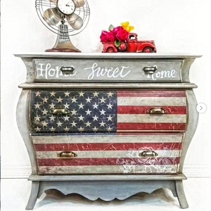 Rub-on Furniture /& Wall Transfer Decor Image Stencil AMERICAN FLAG Redesign with Prima 23 x 30 Prima Redesign Large Transfer