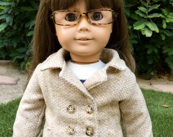 Wheat Peacoat - 18 Inch Doll Clothes, AG Doll Jacket, Handmade Coat for American Girl Doll Peacoat