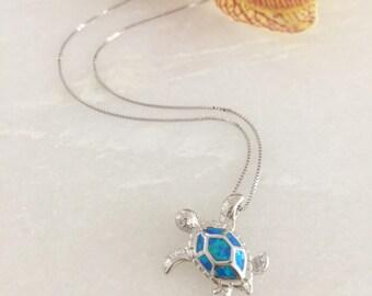 Sterling Silver Blue Opal Sea Turtle Dainty Necklace