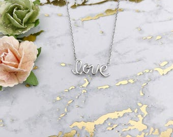 Silver Love Dainty Necklace
