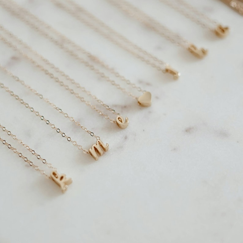 14k Gold Filled Sterling Silver Personalized Inital Letter Dainty Necklace Christmas Gift. 18k Gold Vermeil Bridesmaid Gift
