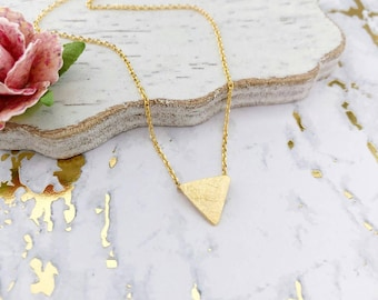 Gold Triangle Dainty Necklace