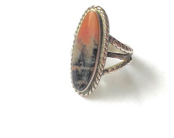 Size 7 Petrified Wood Oblong Sterling Silver Navajo Ring