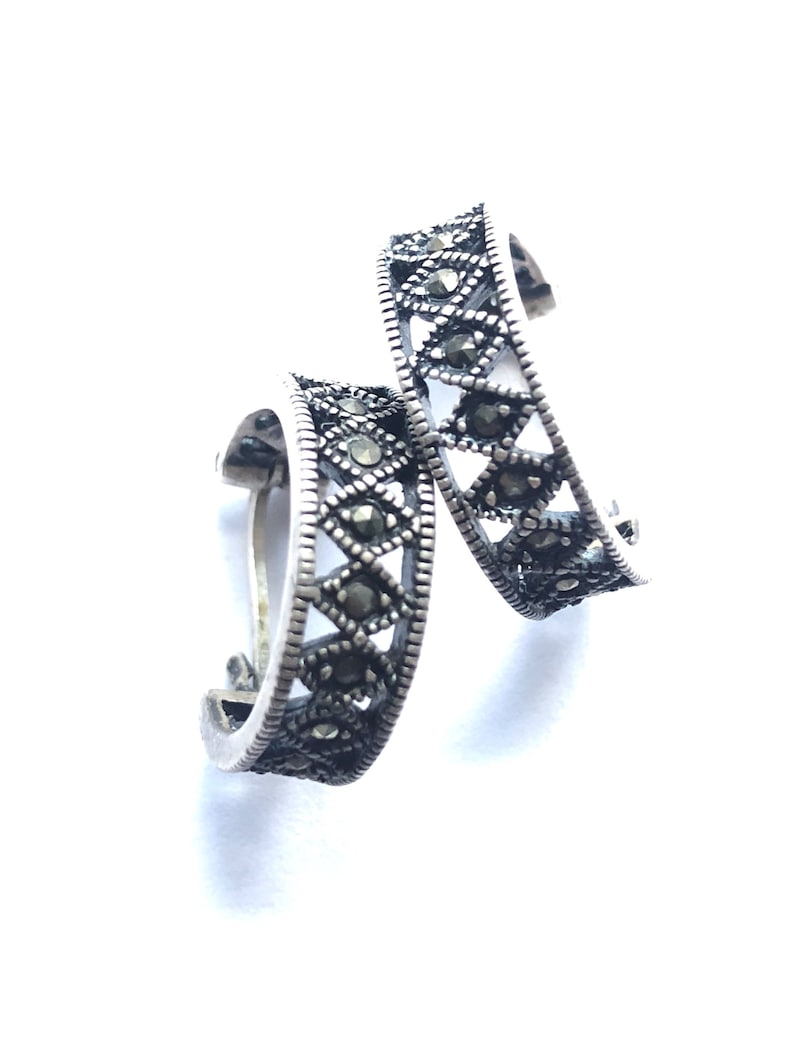 e78343248ebe1 Vintage cutout sterling silver and marcasite hoop earrings