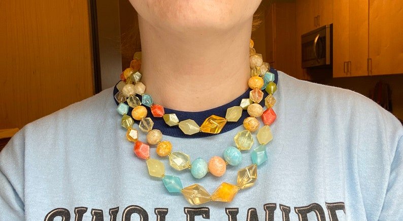 Vintage West Germany lucite triple strand beaded tutti frutti necklace