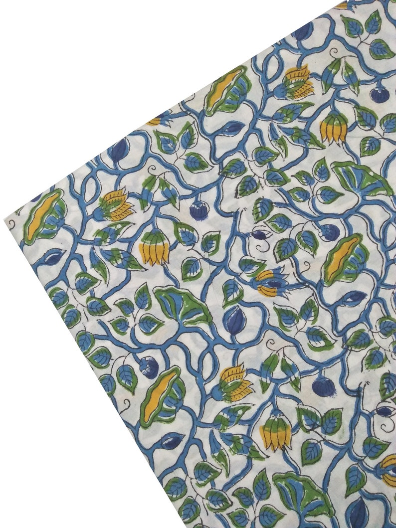 Indian Running Sewing Cotton Fabric Print Blue Leaf Decor Hand Block