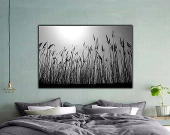 Grain Field, Photography, Digital Download, Grain Field Wall Art, Printable Wall Art, Home Decor, Instant Download, Black and White, Nature