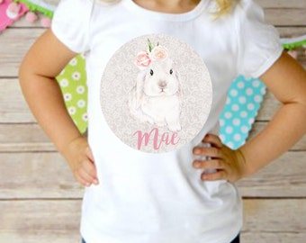 Personalized Easter Bunny Rabbit Girl Shirt or Dress