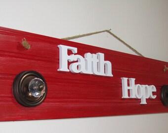 FAITH  HOPE  Wall Wood Art Decor Cherry Red Beadboard Panel