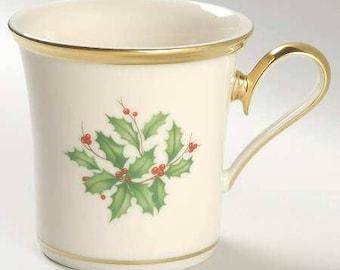 Lenox Holiday Dimension Mug Cream with Gold Trim