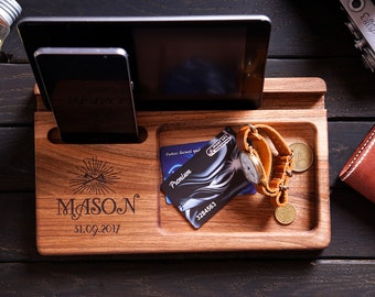 Personalized Men Gift For Him Mens Birthday Husband Dad Iphone Stand Ipad Wood