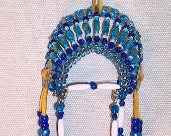Native American Beaded Safety Pin Headdress ( Blue )