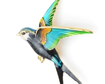 GLEEBROOCH Enamel Swallow Brooches for Women Fashion Animal Pins Rhinestone Bird Jewelry Coat Accessories