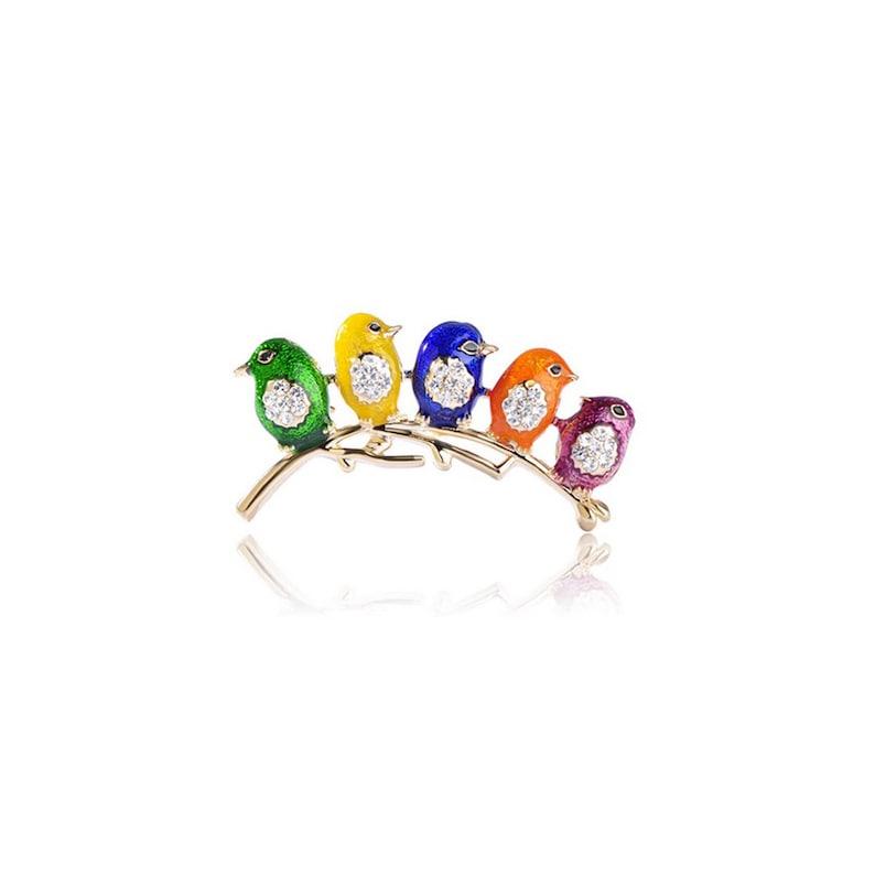 Cute Birds Brooch Crystal Enamel Jewelry Pins
