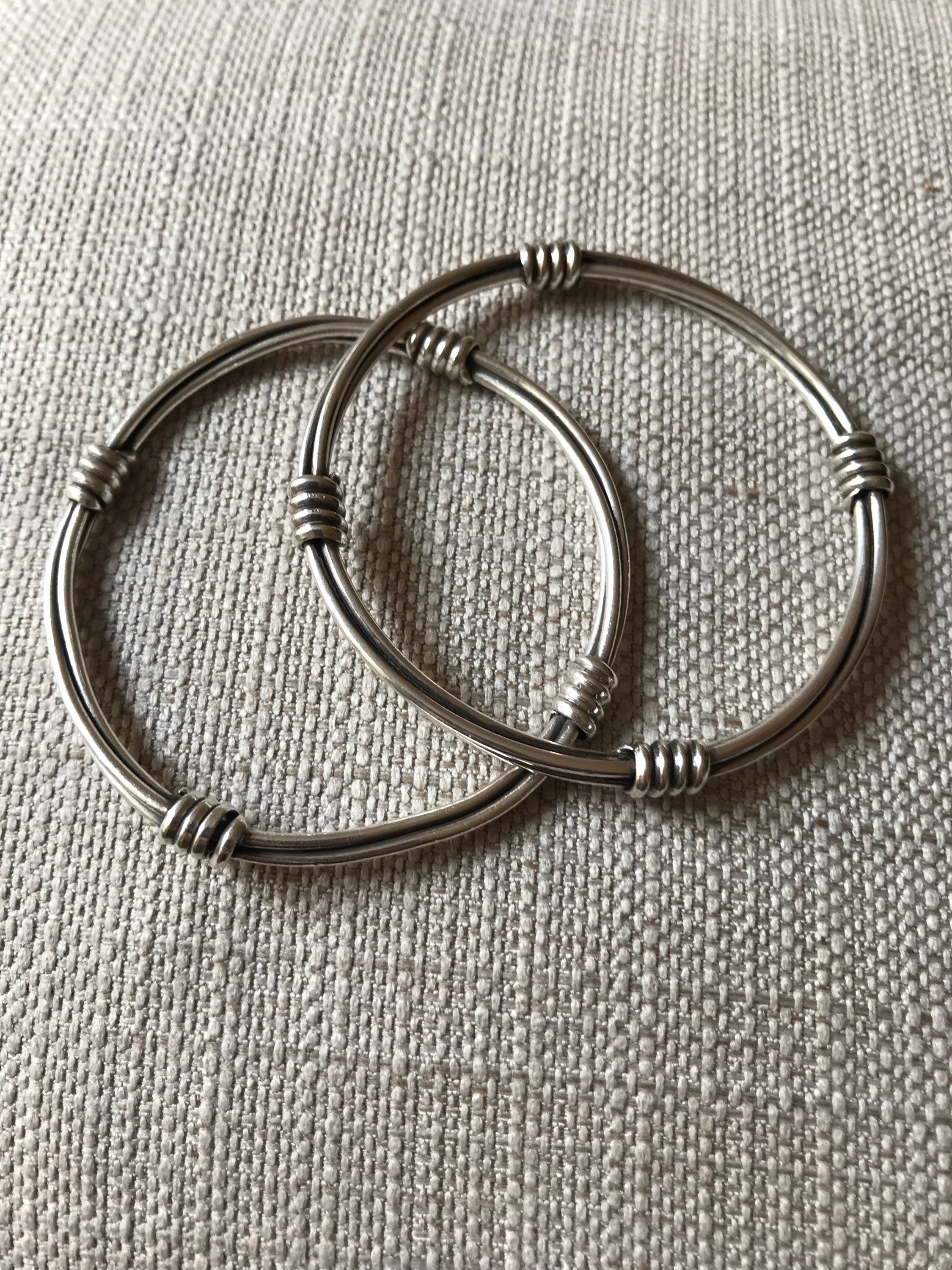 Two Vintage Twisted Wire Sterling Silver Bracelets/ bangles.