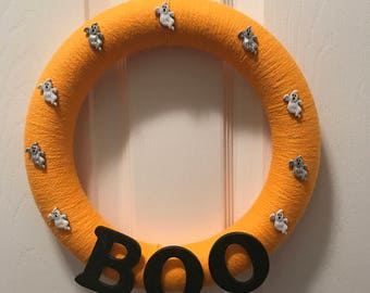 Boo!  Ghost Halloween Wreath