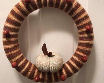 Off White Pumpkin Wreath