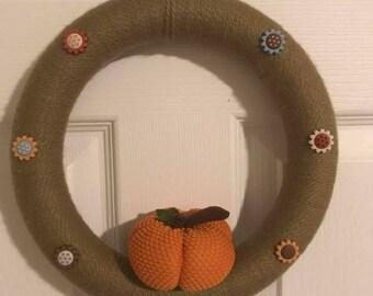 Pumpkin and Buttons Wreath