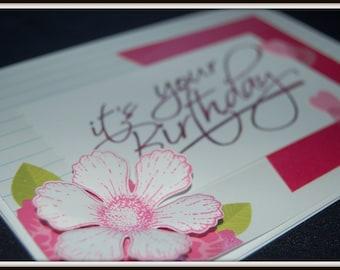 Handmade Birthday Greeting Card, flower, hearts, pink papercraft
