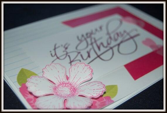 Handmade Birthday Greeting Card Flower Hearts Pink Etsy