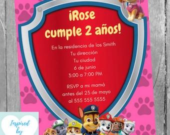 Invitación Patrulla Canina Fiesta Cumpleaños Niña Y Tarjeta
