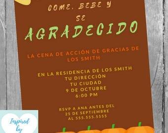 Invitación Cena De Acción De Gracias Invitación Cena Etsy